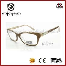 Óculos ópticos de óculos de acetato de cor natural com logotipo OEM