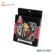 Beauty Lady Round Make up Mirror & Tweezer Set with Gift Box