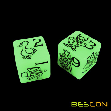 6 Sides Custom Printed Dice Glowing in the Dark