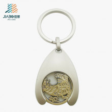 High Quality Zinc Alloy Silver Metal Trolley Token with 3cm Hook for Promotion