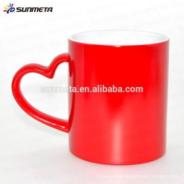Red color glossy finish heat sensitive mug magic cup ,personalized magic mug