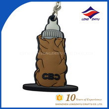 Soft PVC plastic souvenir rubber keychain with ring
