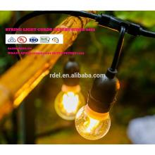 Vintage LED-Lichterkette im Handel mit LED-Beleuchtung für den Außenbereich mit 15 Hängesockeln und 15 klaren S14 Bulbs, 14 Gauge slt0177