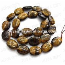 12x16MM Perles ovales plates en pierre tigereye naturelles