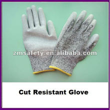 Guante resistente a cortes recubierto de palma PU gris / Guante anti corte ZMR426