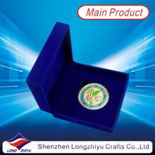 Oro de recubrimiento de moneda moneda del cuerpo marino con caja de terciopelo (lzy1300069)