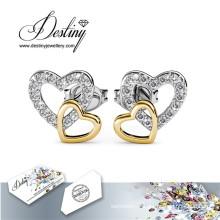 Destin bijoux cristaux de Swarovski combinaison coeur boucles d'oreilles