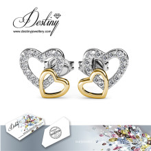 Brincos de coração destino joias cristais de Swarovski combinação