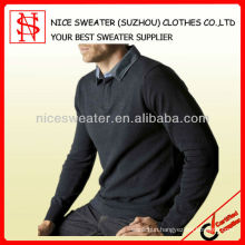 Men's long sleeves pullover with shirt collar