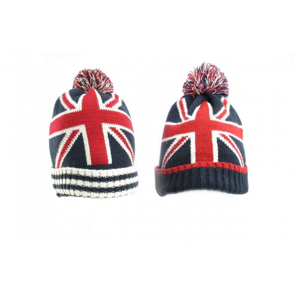 Union Jack Pom Pom Knitted Beanie