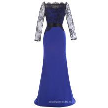 Kate Kasin mangas de tres cuartos mangas de encaje Blue Evening Prom vestido de fiesta madre de la novia vestido 2017 KK001012-1