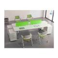orizeal cuadrado central plegable mesa de oficina con pantalla de plástico verde