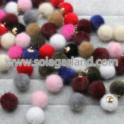 16MM Mink Fur Ball Pompom Pom bal charme hangers