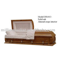 Solid ash American style casket