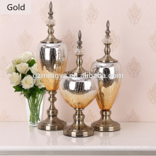 Modern European Home Decoration Yellow color metal bottom Glass bottle