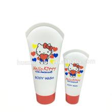 Tubos de prueba especiales cosméticos plásticos de alta calidad calientes de la venta para el lavado del cuerpo con las tapas de rosca