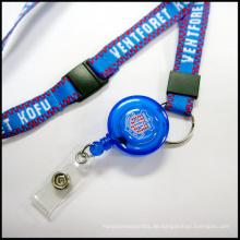 Einziehbare Abzeichenrollen Custom Lanyards für ID