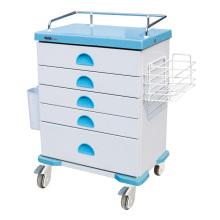 Chariot de médecine de boîte de médecine de 5 couches en acier d'hôpital