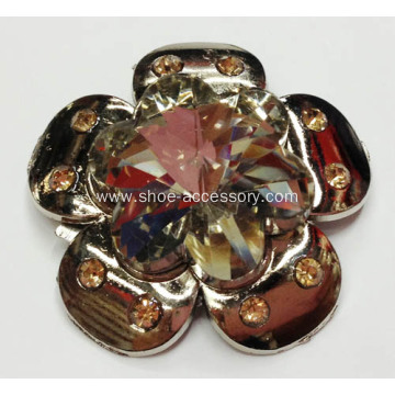 Flower Design Alloy Rhinestone Lady Shoe Buckle