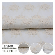 China factory design woven white floral embroidery cotton fabric