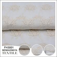 Китай фабрика дизайн сплетенный белый цветочный вышивка хлопок ткань