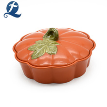 Chine Haute qualité pas cher Unique imprimé citrouille en forme de pot de cuisson en céramique