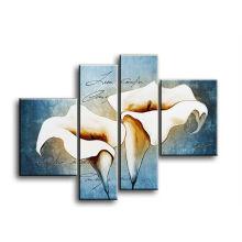 4 panneaux décoration intérieure peinture à la toile de tulipe moderne
