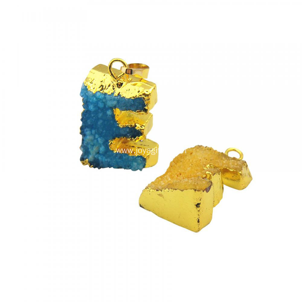 Real Natural Druzy Crystal Alphabet Letter E Pendants Plated Gold