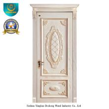 Porta de madeira estilo europeu com entalhe (cor branca)