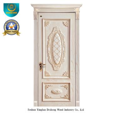 Holztür im europäischen Stil mit Schnitzerei (weiße Farbe)