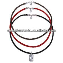 Chine fabricant Collier en cuir de mode 2014, collier pendentif coloré