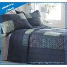 Navy Floral Patchwork Design Polyester Quilt Set