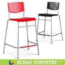 2016 nuevo diseño de alta pierna y piernas largas sillas de plástico con barra de acero inoxidable