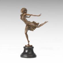 Bailarín Figura Estatua Ejecutar Chica Escultura De Bronce TPE-1023