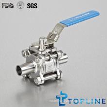 Válvulas de esfera de aço inoxidável de alta pureza sanitária com extremidades de solda