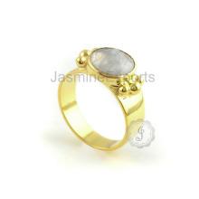 Handgemachter Regenbogen-Mondstein-Designer-Silber-Ring für Jahrestags-Geschenk