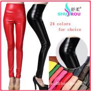 PU Leather 24 Colors High Waist Leggings Pants for Women (SR-6001)