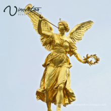 High quality building decor bronze angel with trumpet statue