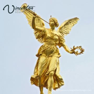 Высокое качество дома декор бронзовый ангел с трубой статуя