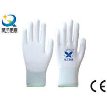 Blanco de poliéster con guantes de trabajo revestidos de poliuretano blanco PU (PU001)