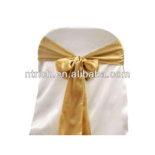 Faixa ouro cadeira cetim, laços de cadeira, quebra para hotel do banquete de casamento