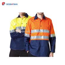 New Hi Vis Camisa de trabajo de seguridad Camisa de desgaste Desgaste de algodón Drill Luz corta / Manga larga Polo T-shirts