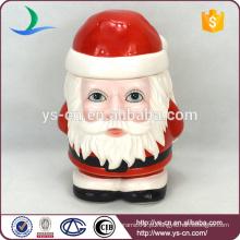 2015 Venda Por Atacado Cerâmica Papai Noel Cookie & pão Armazenamento