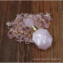 Beauty Perfume Jewelry Accessories Rose Quartz Essential Oil Pendant Necklace DIY Bottle Shaped Beads Gemstone Necklace