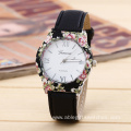 Girls Fashion Leather Floral Quartz Wrist Watch