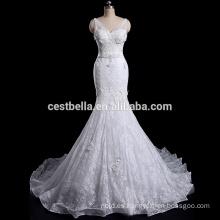 Vestido de boda de calidad superior de la sirena del cordón del bordado