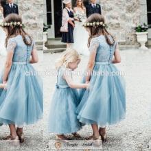 Прекрасная Принцесса Девочка Платье Мятно-Зеленый Кнопка Сестры Свадьба Девочка Платье 2016
