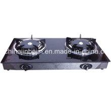 2 brûleurs en verre trempé 165 # brûleur infrarouge cuisinière à gaz / poêle à gaz