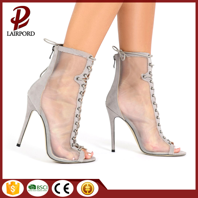 mesh fabric stiletto open toe woman boots