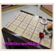 Esteira de tabela longa da largura do laço 50cm do ouro do rolo do PVC do Crochet